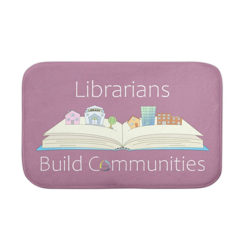 Pop-Up Communities (White Text / Dark Background) Home Bath Mat by North Carolina Library Association Summer Shop
