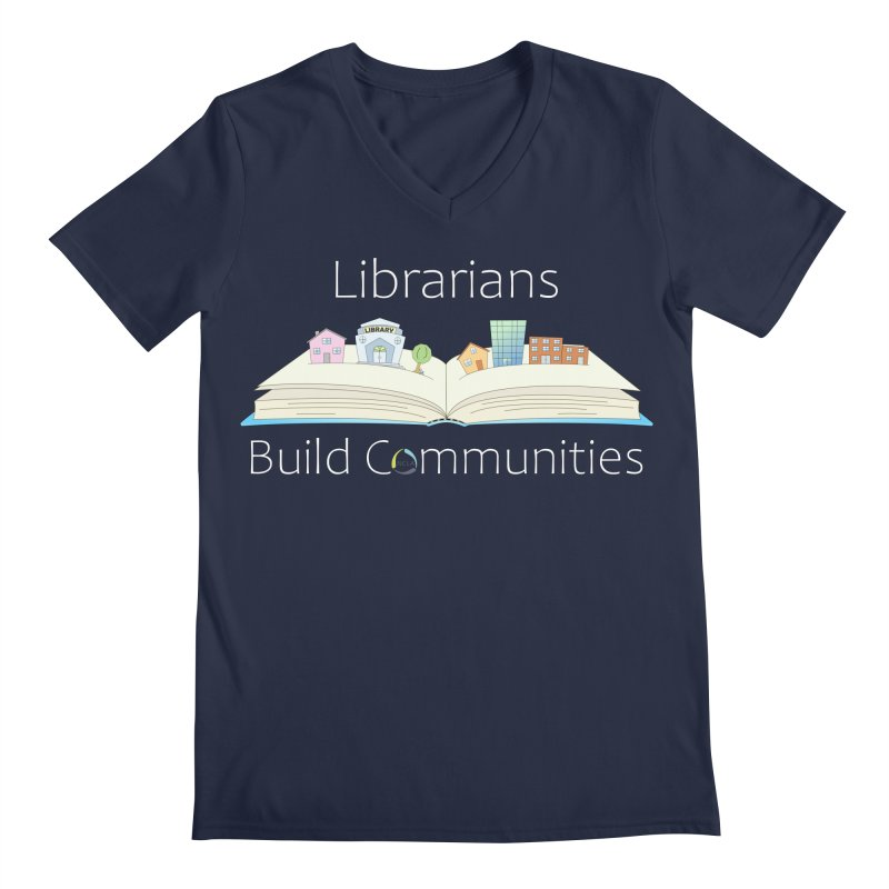 Pop-Up Communities (White Text / Dark Background) Men's V-Neck by North Carolina Library Association Summer Shop