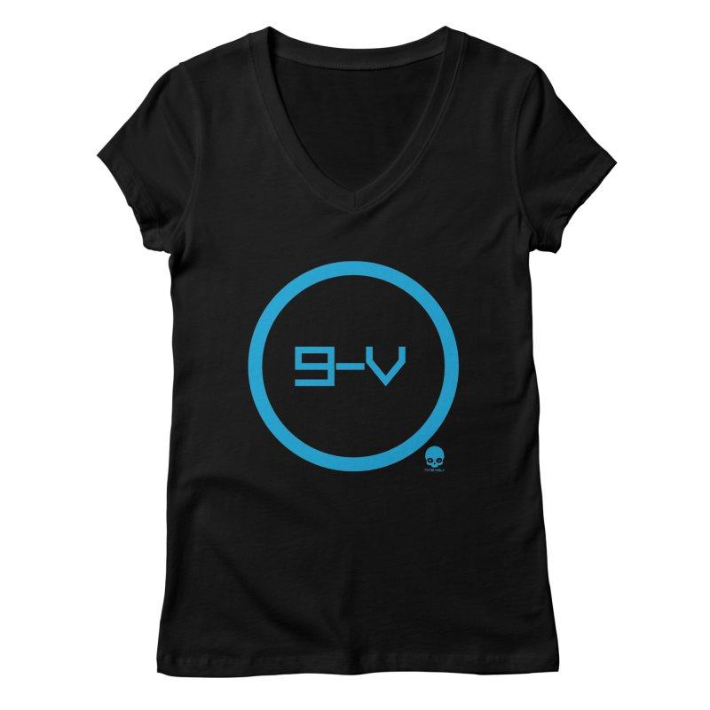 9-V: ELECTRIC BLUE Women's V-Neck by NIN3VOLT