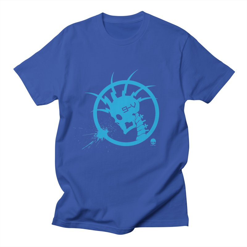 ELECTRO SKULL: ELECTRIC BLUE Men's T-Shirt by NIN3VOLT