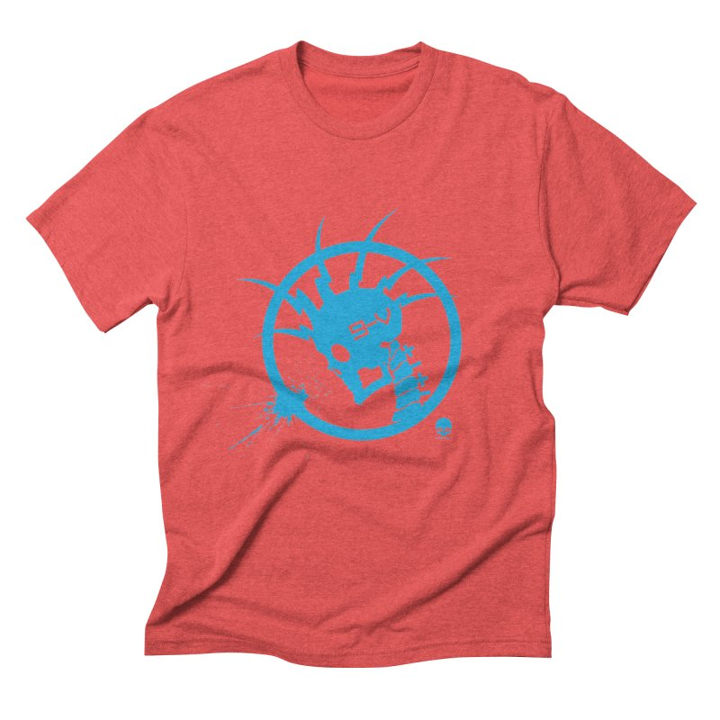 ELECTRO SKULL: ELECTRIC BLUE Men's Triblend T-shirt by NIN3VOLT