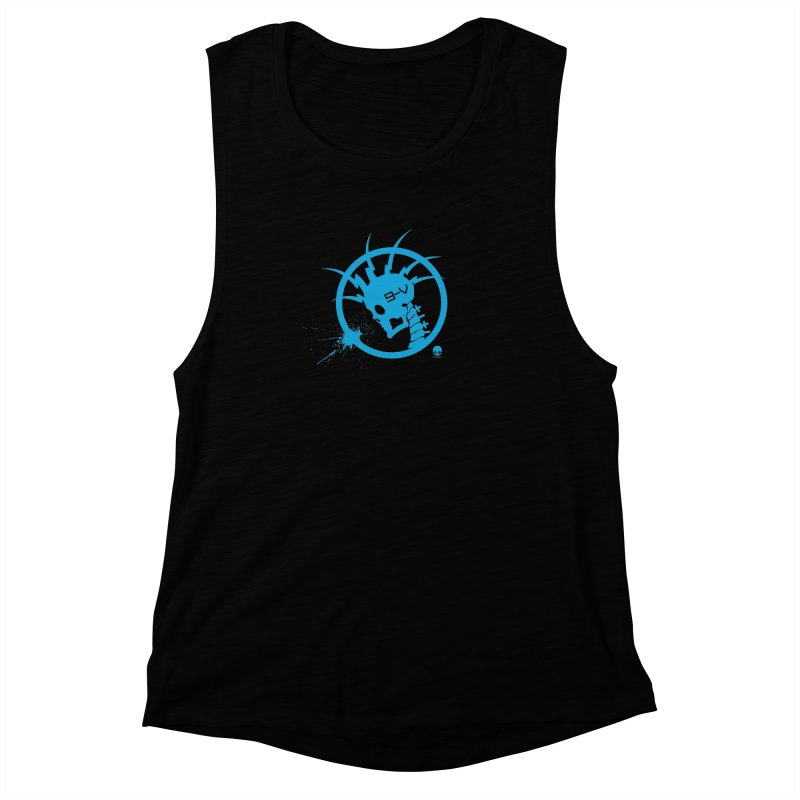 ELECTRO SKULL: ELECTRIC BLUE Women's Muscle Tank by NIN3VOLT