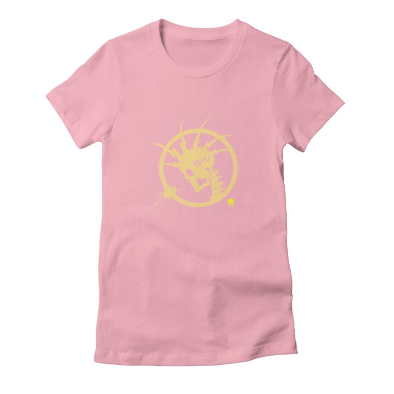 ELECTRO SKULL 2.0 STATIC: CAUTION TAPE  Women's Fitted T-Shirt by NIN3VOLT