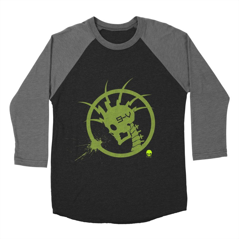 ELECTRO SKULL 2.0 STATIC: KIWI Men's Baseball Triblend T-Shirt by NIN3VOLT