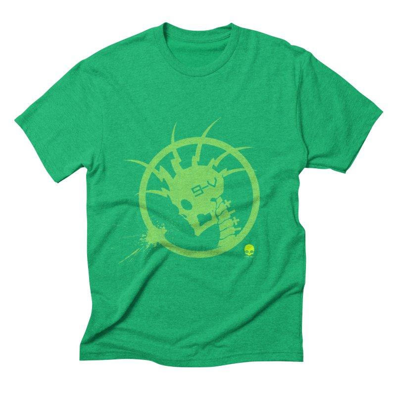 ELECTRO SKULL 2.0 STATIC: KIWI Men's Triblend T-shirt by NIN3VOLT