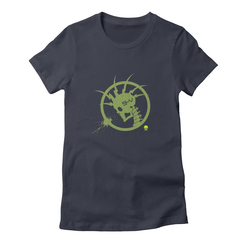 ELECTRO SKULL 2.0 STATIC: KIWI Women's Fitted T-Shirt by NIN3VOLT