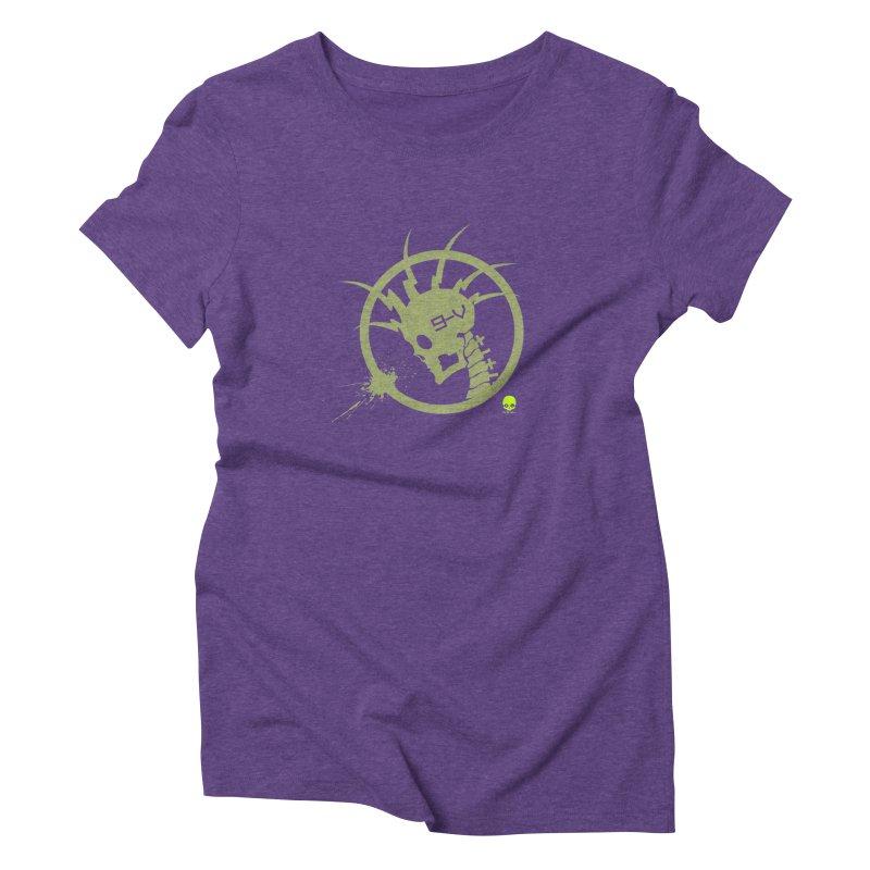 ELECTRO SKULL 2.0 STATIC: KIWI Women's Triblend T-shirt by NIN3VOLT