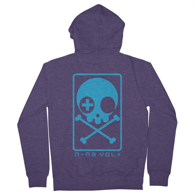 NIN3VOLT CROSSBONES: ELECTRIC BLUE Men's Zip-Up Hoody by NIN3VOLT