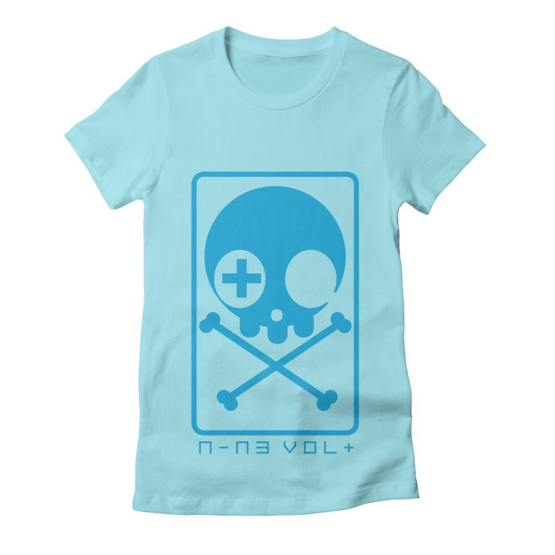 NIN3VOLT CROSSBONES: ELECTRIC BLUE Women's Fitted T-Shirt by NIN3VOLT