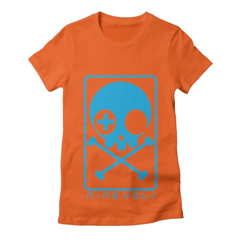 NIN3VOLT CROSSBONES: ELECTRIC BLUE Women's Fitted T-Shirt by NIN3VOLT