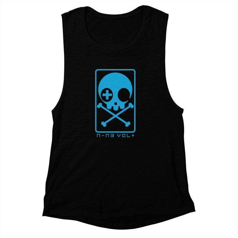NIN3VOLT CROSSBONES: ELECTRIC BLUE Women's Muscle Tank by NIN3VOLT
