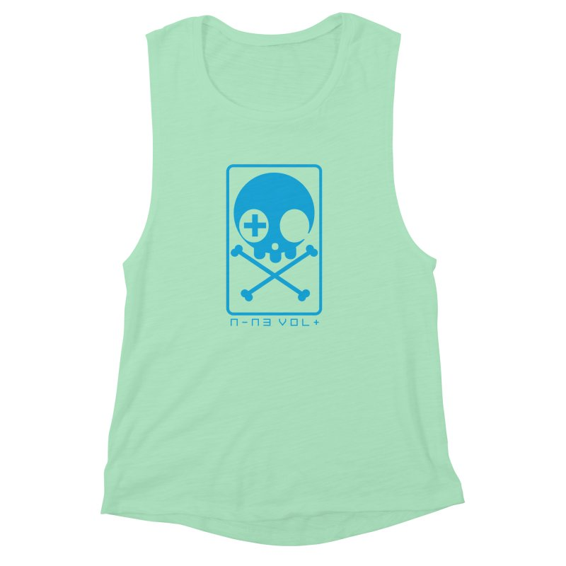 NIN3VOLT CROSSBONES: ELECTRIC BLUE Women's Muscle Tank by NIN3VOLT