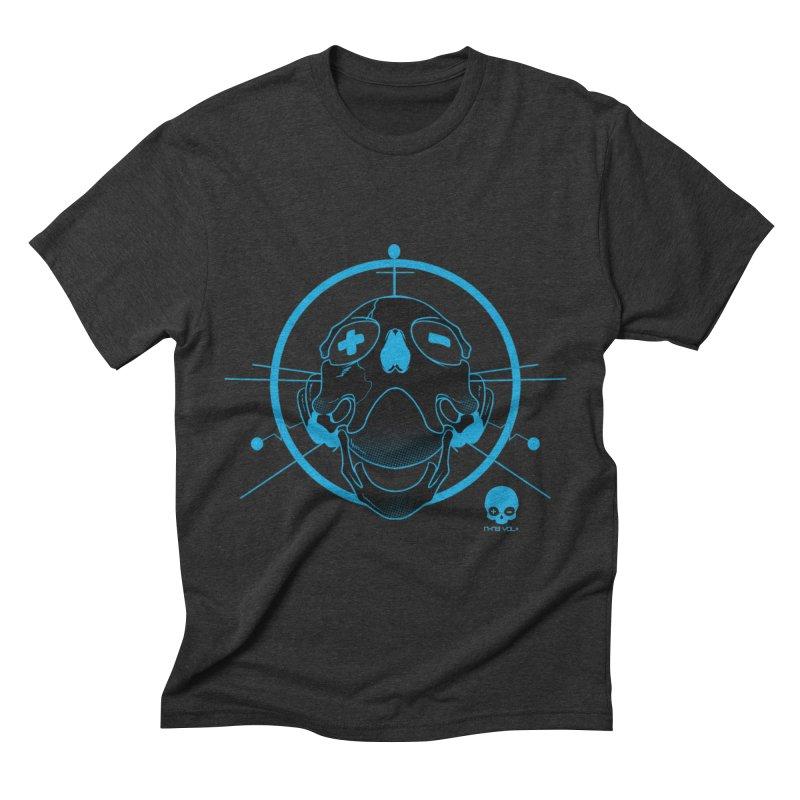 ANTENNA SKULL: ELECTRIC BLUE Men's Triblend T-Shirt by NIN3VOLT