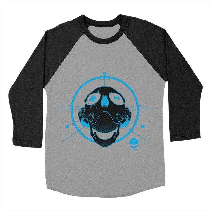 ANTENNA SKULL: ELECTRIC BLUE Men's Baseball Triblend T-Shirt by NIN3VOLT