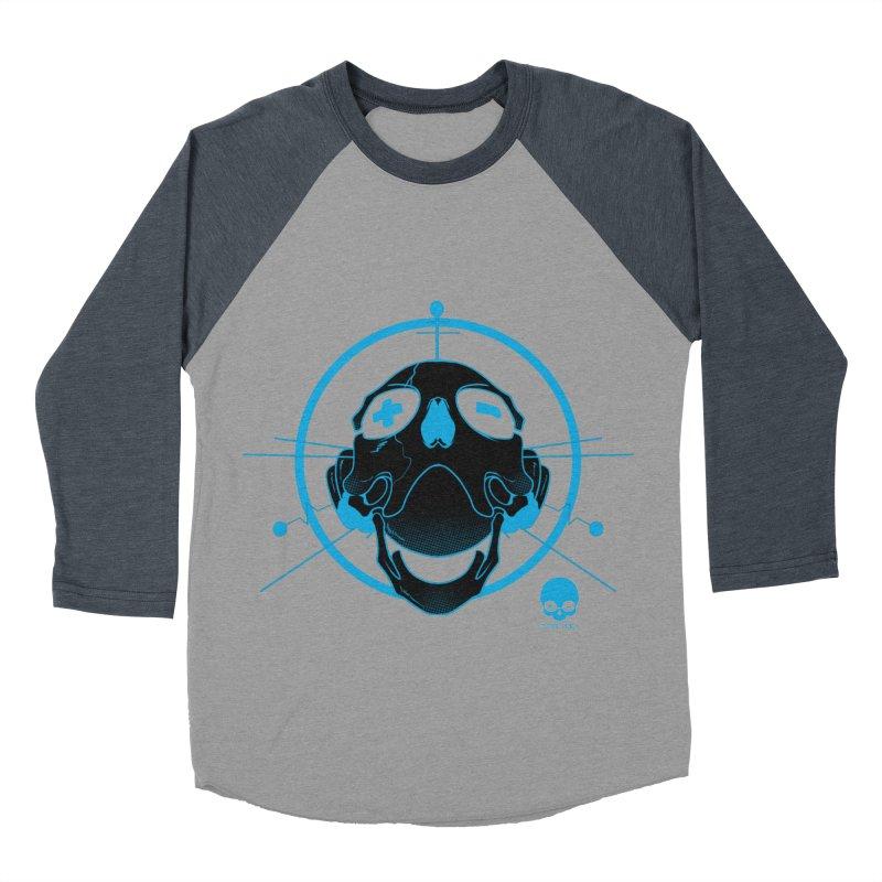 ANTENNA SKULL: ELECTRIC BLUE Men's Baseball Triblend T-Shirt by NIN3VOLT