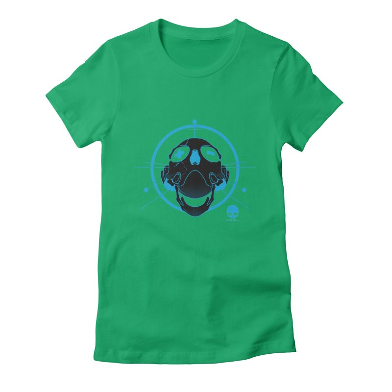 ANTENNA SKULL: ELECTRIC BLUE Women's Fitted T-Shirt by NIN3VOLT