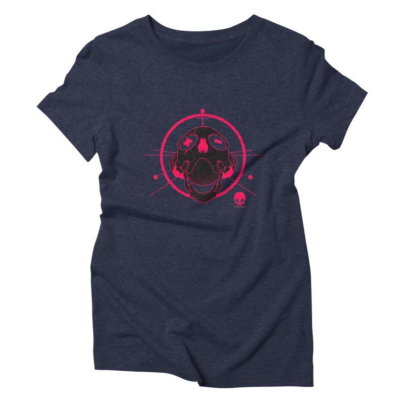 ANTENNA SKULL: WILD RAZZBERRY Women's Triblend T-Shirt by NIN3VOLT