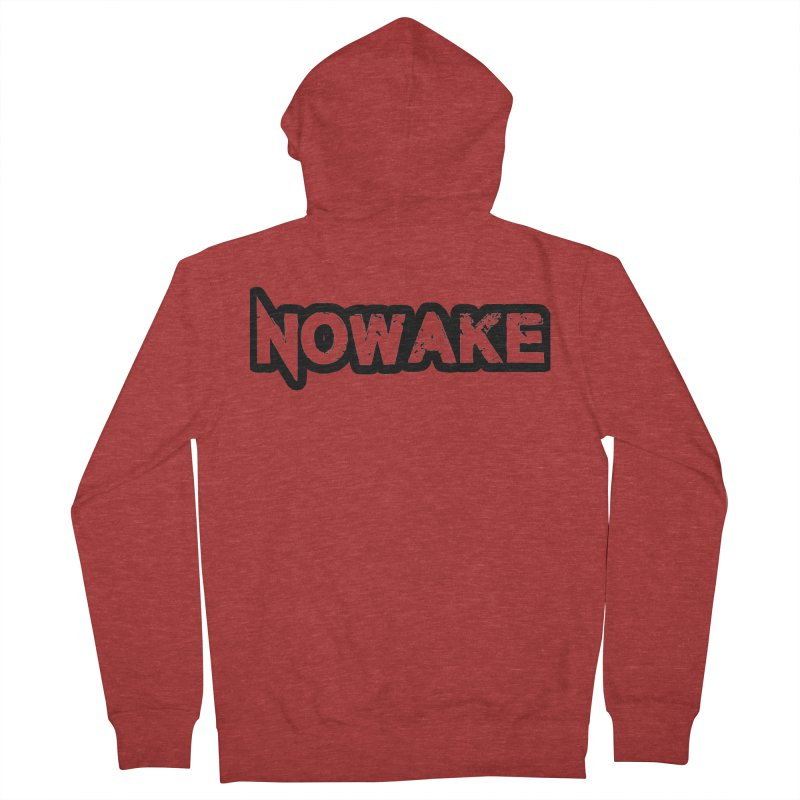 NOWAKE Black Outline Logo Women's French Terry Zip-Up Hoody by NOWAKE's Artist Shop