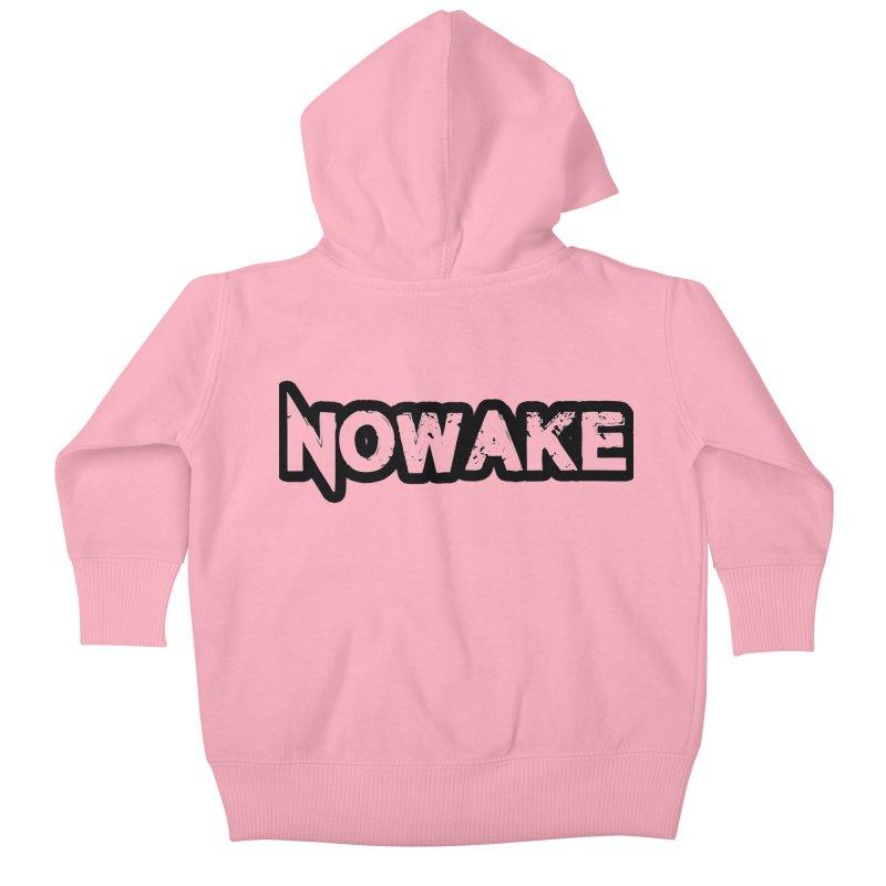 NOWAKE Black Outline Logo Kids Baby Zip-Up Hoody by NOWAKE's Artist Shop