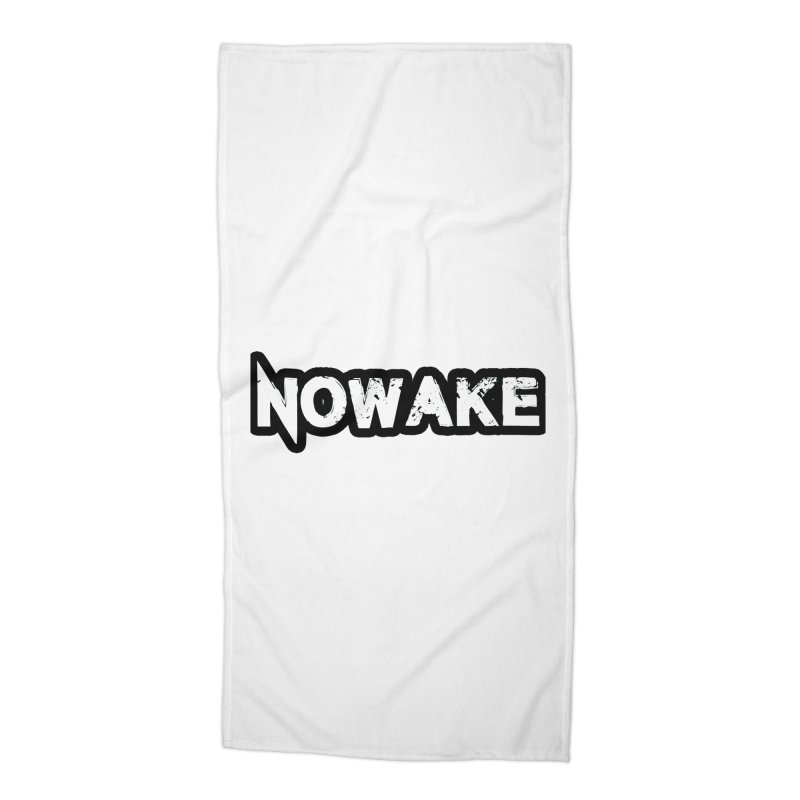 NOWAKE Black Outline Logo Accessories Beach Towel by NOWAKE's Artist Shop