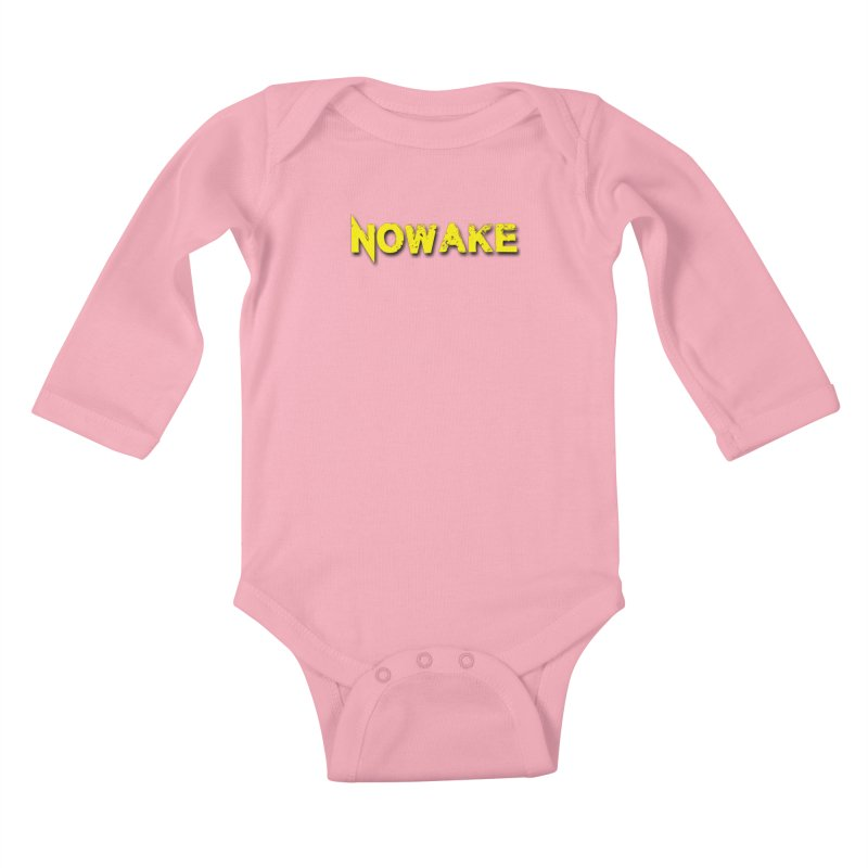 NOWAKE Yellow Drop Shadow Logo Kids Baby Longsleeve Bodysuit by NOWAKE's Artist Shop