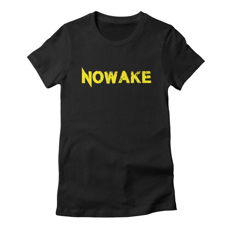 NOWAKE Yellow Drop Shadow Logo Women's Fitted T-Shirt by NOWAKE's Artist Shop