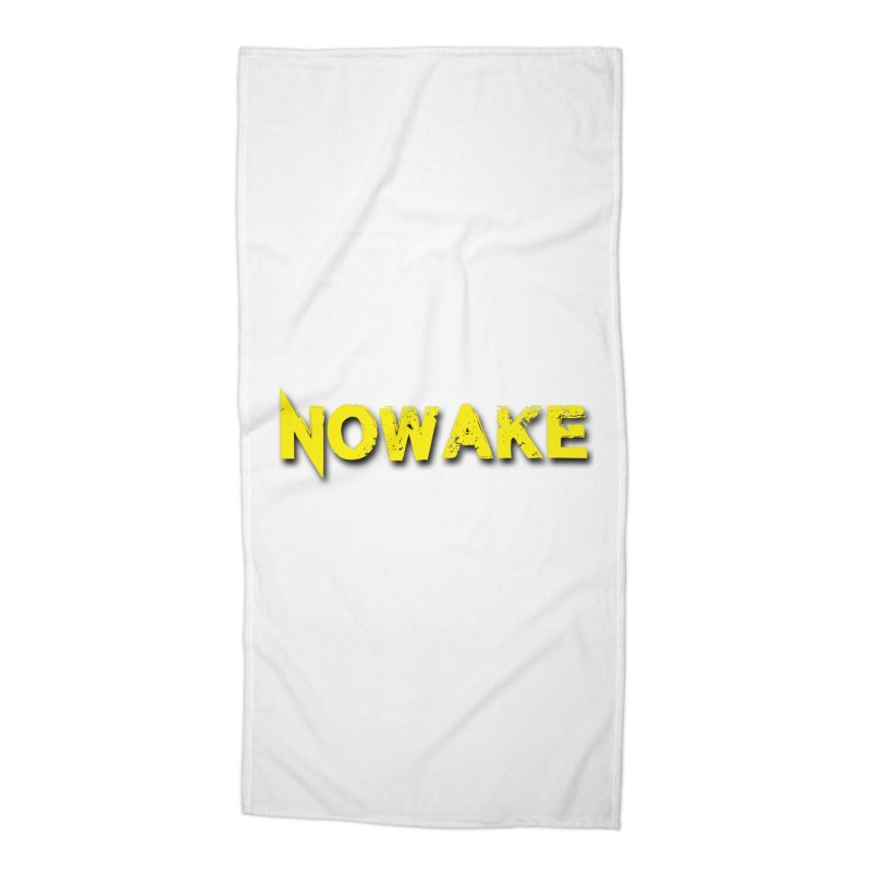 NOWAKE Yellow Drop Shadow Logo Accessories Beach Towel by NOWAKE's Artist Shop