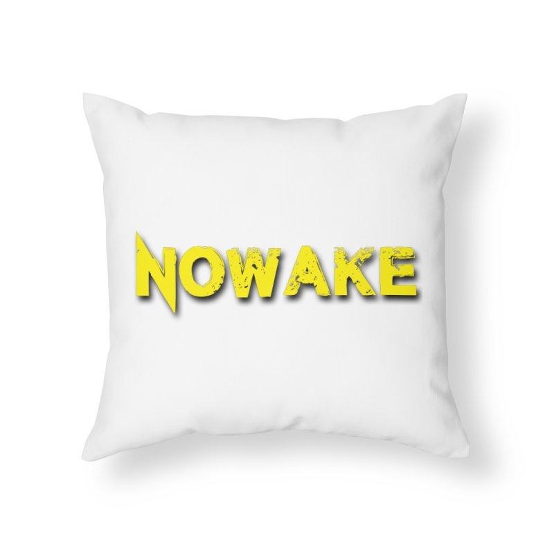 NOWAKE Yellow Drop Shadow Logo Home Throw Pillow by NOWAKE's Artist Shop