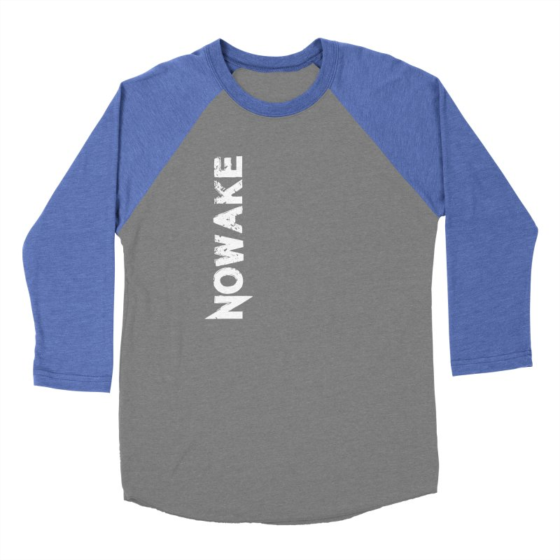 NOWAKE White Sideways Logo Men's Baseball Triblend Longsleeve T-Shirt by NOWAKE's Artist Shop