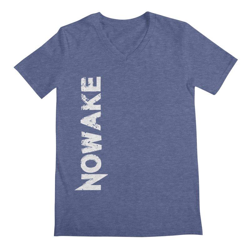 NOWAKE White Sideways Logo Men's Regular V-Neck by NOWAKE's Artist Shop