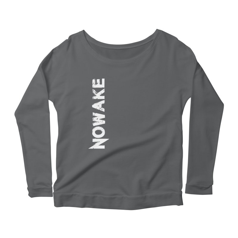 NOWAKE White Sideways Logo Women's Scoop Neck Longsleeve T-Shirt by NOWAKE's Artist Shop
