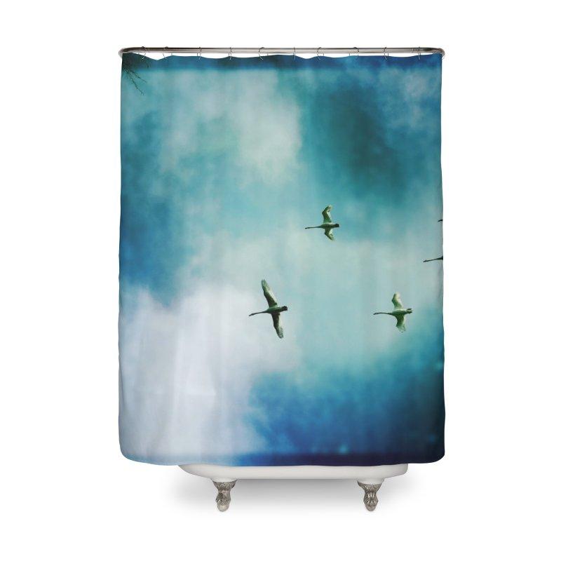 Birds In Flight Home Shower Curtain by NadineMorgan's Artist Shop