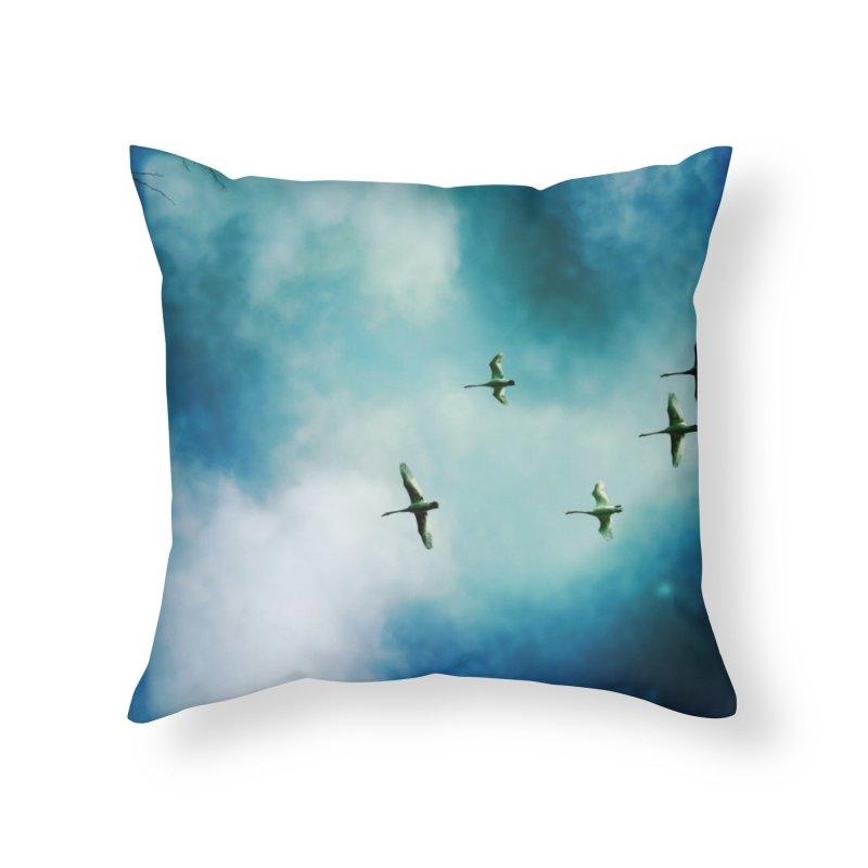 Birds In Flight Home Throw Pillow by NadineMorgan's Artist Shop