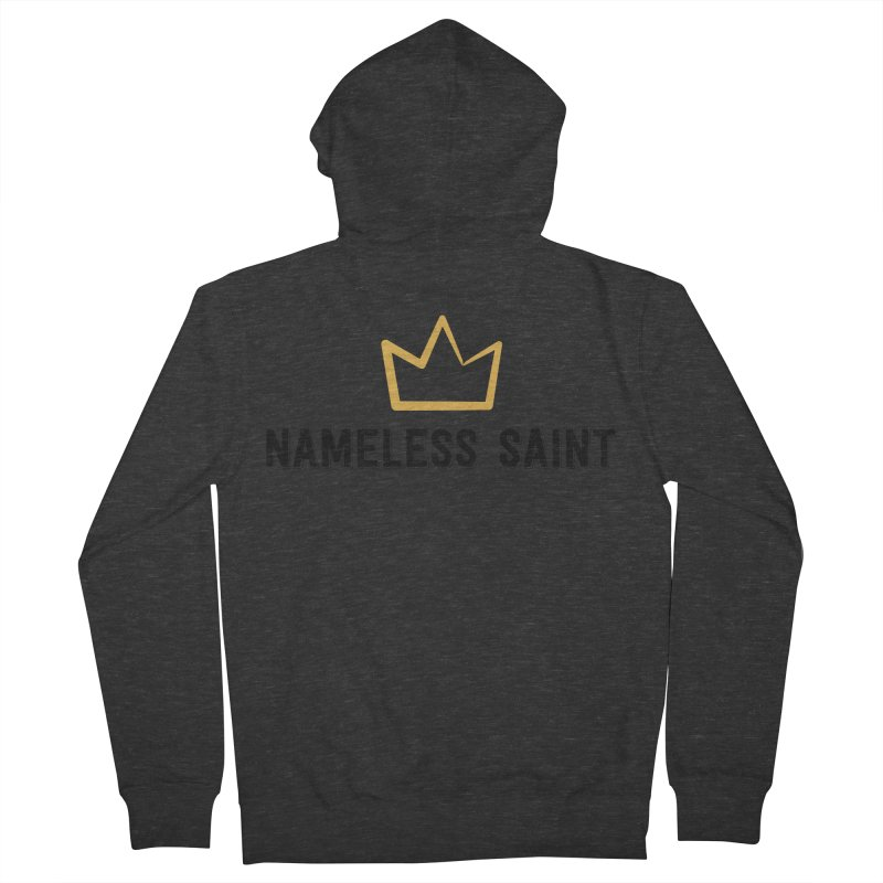 Crown (black letters) Men's French Terry Zip-Up Hoody by Nameless Saint
