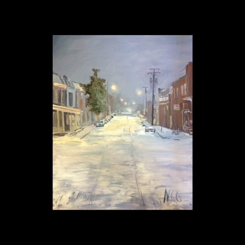 Mulberry and Main, 1AM in the Snow by NatalieGatesArt's Shop