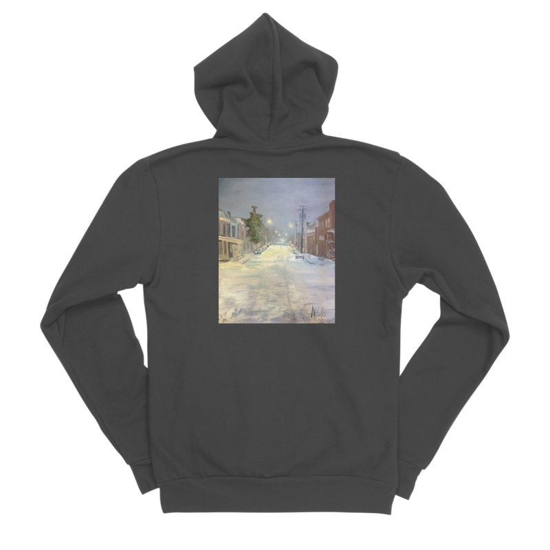 Mulberry and Main, 1AM in the Snow Women's Zip-Up Hoody by NatalieGatesArt's Shop