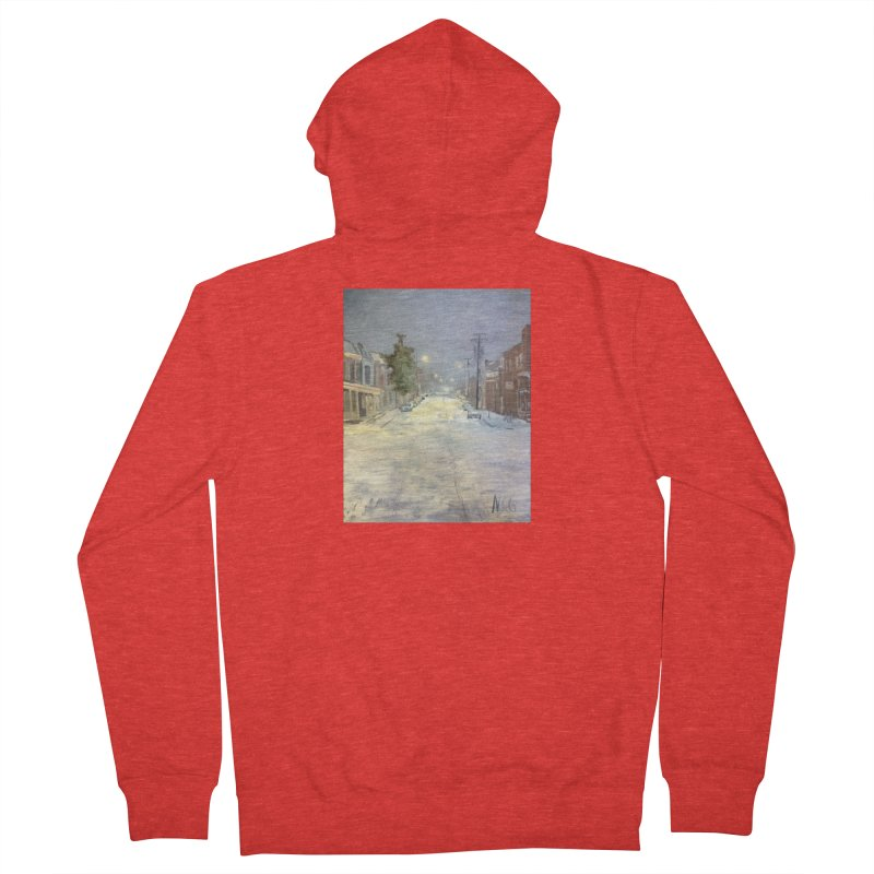Mulberry and Main, 1AM in the Snow Men's Zip-Up Hoody by NatalieGatesArt's Shop