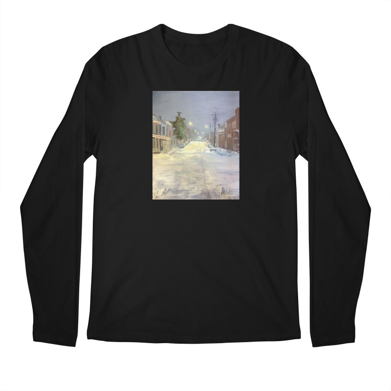 Mulberry and Main, 1AM in the Snow Men's Regular Longsleeve T-Shirt by NatalieGatesArt's Shop
