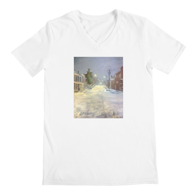 Mulberry and Main, 1AM in the Snow Men's V-Neck by NatalieGatesArt's Shop