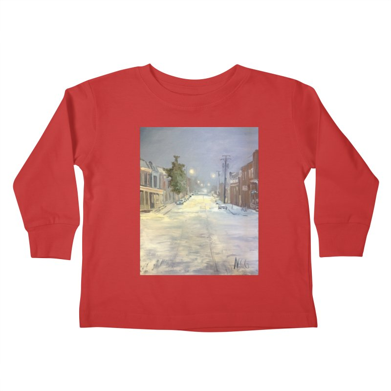 Mulberry and Main, 1AM in the Snow Kids Toddler Longsleeve T-Shirt by NatalieGatesArt's Shop
