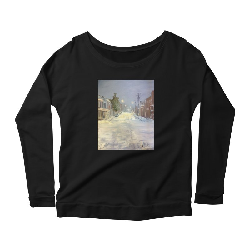 Mulberry and Main, 1AM in the Snow Women's Scoop Neck Longsleeve T-Shirt by NatalieGatesArt's Shop