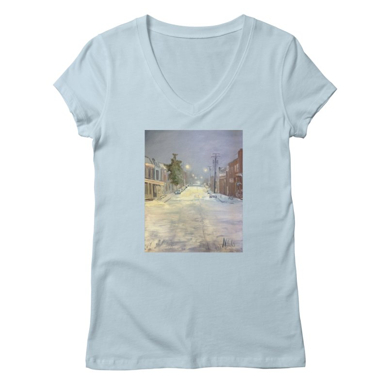 Mulberry and Main, 1AM in the Snow Women's Regular V-Neck by NatalieGatesArt's Shop
