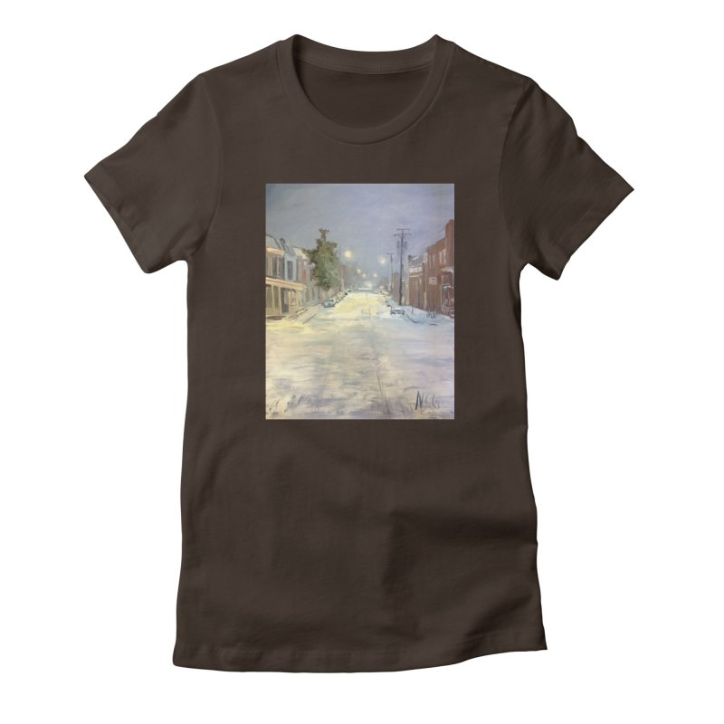 Mulberry and Main, 1AM in the Snow Women's Fitted T-Shirt by NatalieGatesArt's Shop