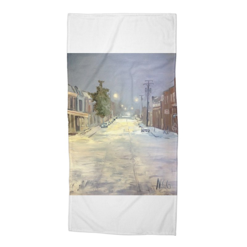 Mulberry and Main, 1AM in the Snow Accessories Beach Towel by NatalieGatesArt's Shop
