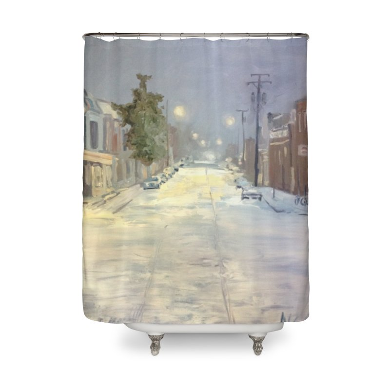Mulberry and Main, 1AM in the Snow Home Shower Curtain by NatalieGatesArt's Shop