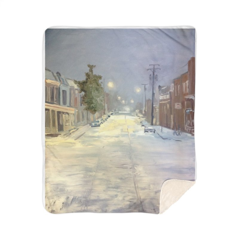 Mulberry and Main, 1AM in the Snow Home Sherpa Blanket Blanket by NatalieGatesArt's Shop