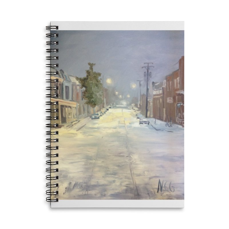 Mulberry and Main, 1AM in the Snow Accessories Lined Spiral Notebook by NatalieGatesArt's Shop
