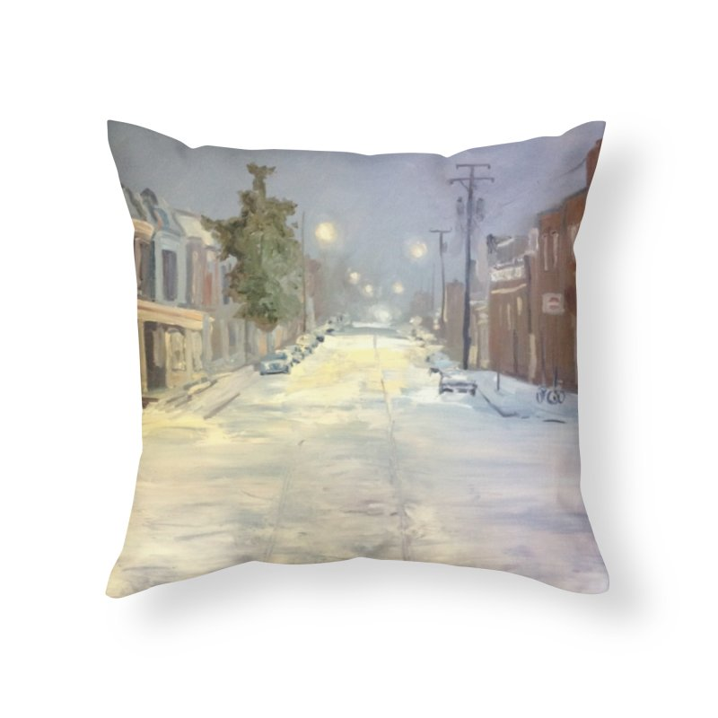 Mulberry and Main, 1AM in the Snow Home Throw Pillow by NatalieGatesArt's Shop