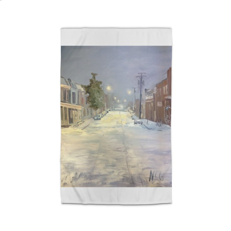 Mulberry and Main, 1AM in the Snow Home Rug by NatalieGatesArt's Shop