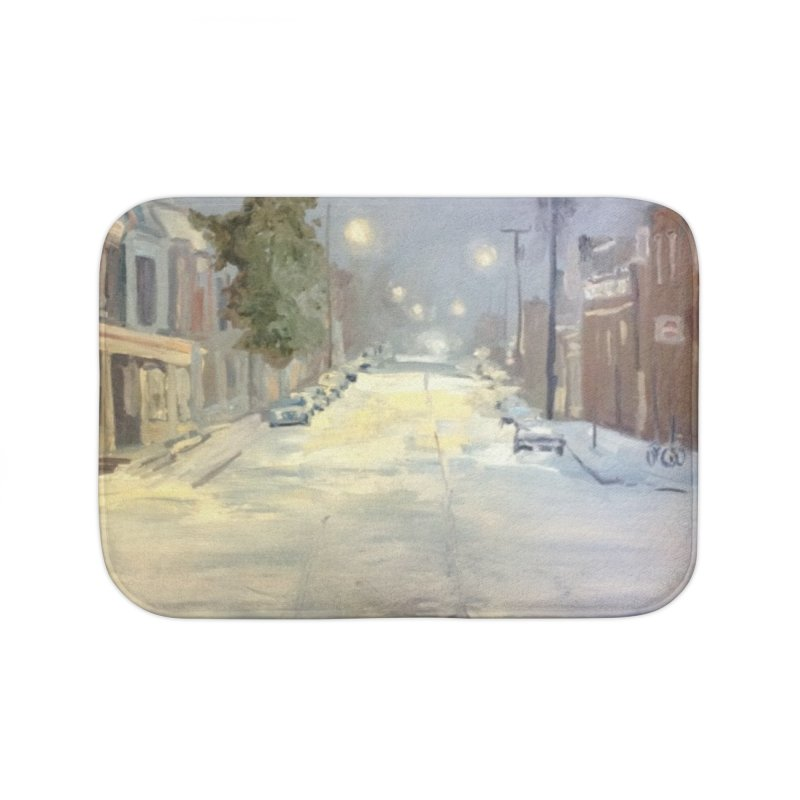Mulberry and Main, 1AM in the Snow Home Bath Mat by NatalieGatesArt's Shop